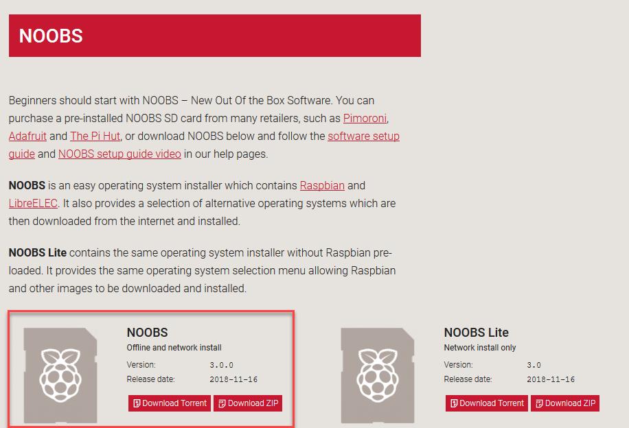 Raspberry pi download noobs